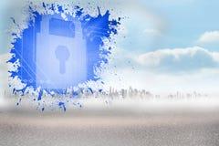 Splash showing digital lock Royalty Free Stock Image