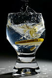 Splash! Soda & lemon in glass. Royalty Free Stock Photography