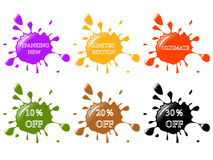 Splash stickers. Glossy splash stickers for promotion Royalty Free Stock Images