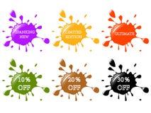 Splash stickers. Glossy splash stickers for promotion stock illustration
