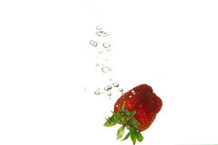 Splash strawberry Stock Photography