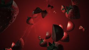 Splash of strawberry. 3D animation. Objects spinning. vector illustration