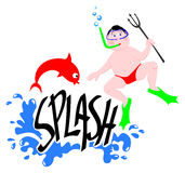 Splash sub. This vector illustration shows the word Splash surrounded by water. A fish tries to escape with a sub harpoon Royalty Free Stock Photography