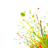 Splash. Super macro shot of colored paint splashes dancing on sound waves, isolated on white background Stock Photo