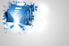 Splash on wall revealing binary code Stock Photography