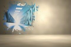 Splash on wall revealing binary code Stock Photos