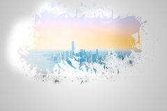 Splash on wall revealing city by the sea Stock Image