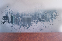 Splash on wall revealing city view Royalty Free Stock Image
