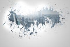 Splash on wall revealing cityscape Stock Images