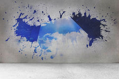Splash on wall revealing cloud computing concept Royalty Free Stock Photography