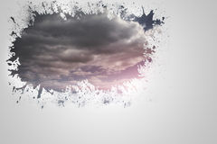Splash on wall revealing cloudy sky Royalty Free Stock Image