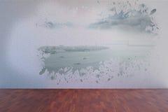 Splash on wall revealing coastline Stock Images