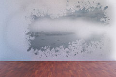 Splash on wall revealing coastline Royalty Free Stock Photography
