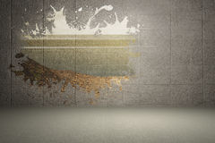 Splash on wall revealing country Stock Image