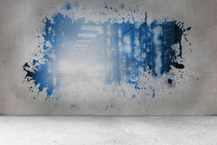 Splash on wall revealing data hallway Royalty Free Stock Images