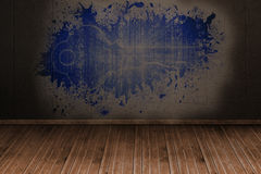 Splash on wall revealing digital key Stock Photos