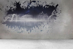 Splash on wall revealing energy wave Stock Image