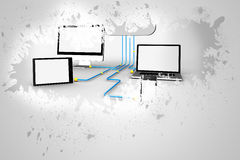 Splash on wall revealing file transfer graphic Stock Images