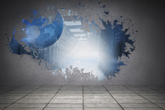 Splash on wall revealing global server graphic Royalty Free Stock Images