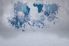 Splash on wall revealing global technology concept Stock Image