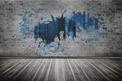 Splash on wall revealing server tower Stock Photography