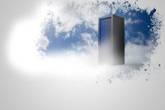 Splash on wall revealing server tower Stock Photo