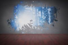 Splash on wall revealing servers Stock Photo