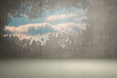 Splash on wall revealing sky Royalty Free Stock Photo