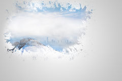 Splash on wall revealing snowy peak Stock Images