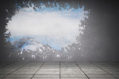Splash on wall revealing snowy peak Royalty Free Stock Images