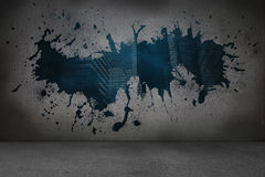 Splash on wall revealing technology graphic Stock Images