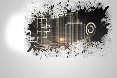 Splash on wall revealing technology interface Stock Photography