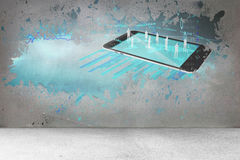 Splash on wall revealing technology interface Stock Images