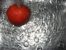 Splash of water. Tomato in water, close up Royalty Free Stock Image