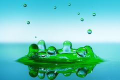 Splash Water. Falling Drop Splashing Into Water Royalty Free Stock Photos