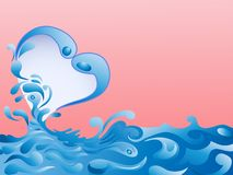Splash water creating love icon on pink background Stock Photography