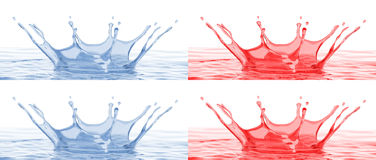 Splash - water crown - with and without DOF effect Royalty Free Stock Photos