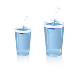 Splash of water in glass. Illustration of splash of water in glass  on isolated background Stock Image