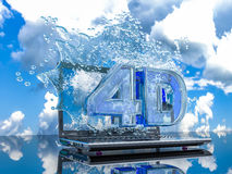 Splash water from the laptop screen with symbols 4d, 3d render. Splash water from the laptop screen with symbols 4d 3d render Stock Images
