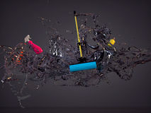 Splash water mixed mop, spray, bottle cleanser Royalty Free Stock Image