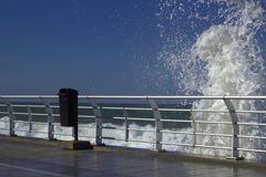 Splash of water near famous seaside Corniche, Beirut, Lebanon Stock Photo
