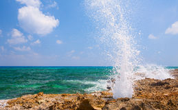Splash of water on the rocky beach in Mexico Royalty Free Stock Photography
