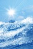 Splash of water with sunrays Stock Photo