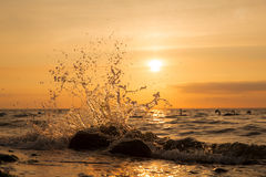 Splash. Welle spritzt am Felsen im Sonnenuntergang Royalty Free Stock Photography