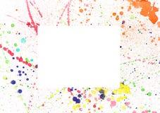 Splash watercolor border background. Watercolor splash border background with space for text Stock Photography