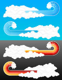 Splash wave cloudy elements 2. Vector illustration of cool lined splash wave graphic elements coming from a retro cloudscape. Two color variations Stock Photo