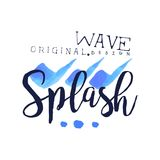 Splash wave logo origrnal design, water element, abstract aqua badge watercolor vector Illustration. On a white background Royalty Free Stock Photos