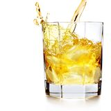 Splash whiskey. Whiskey pouring into glass over white background royalty free stock image