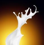 Splash of white fat milk as design element Royalty Free Stock Images