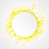Splash yellow paint and halftone effect on clean background. Royalty Free Stock Images